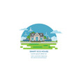 eco house with solar panel and wind power vector image