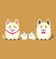 family of cheerful pig animals flat style vector image