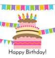 greeting card with sweet cake vector image vector image