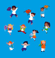 group of little students pattern vector image