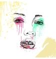 Hand-drawn fashion model portrait vector image vector image