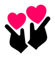 hands with hearts icon two-tone silhouette vector image vector image