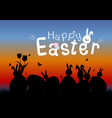 happy easter concept of eggs and cute bunny vector image vector image
