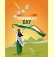 indian girl waving flag her hands 15 august happy