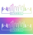 istanbul skyline colorful linear style editable vector image vector image