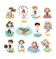kids doing sport games cartoon vector image vector image