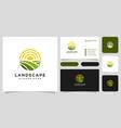 landscape sun logo design and business card