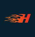 letter h flame logo speed logo design concept vector image