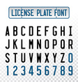 License plate font letters with embosse