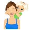 little daughter covering mother eyes vector image