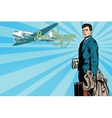 Male passenger traveler in the airport vector image vector image