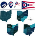 map of ohio with regions vector image vector image