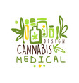 medical cannabis label logo graphic template vector image vector image