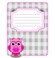 Owl gingham cover-pink and grey vector image vector image