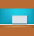 radiator on blue wall vector image vector image