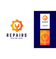 repair logo and business card template gear sign vector image vector image
