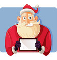 santa claus holding a pc tablet drawing vector image vector image
