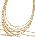 Set jewelry gold chains different size vector image