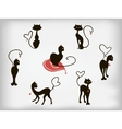 Set of black cats with hearts for Valentines Day vector image