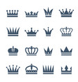 set of monochrome crowns for luxury vector image