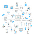 set of pharmacy and medicine linear icons vector image