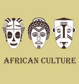 set of three traditional african masks vector image