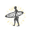 surfing logo ride wave surf rider vector image vector image