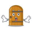 surprised large wooden door with cartoon handle vector image
