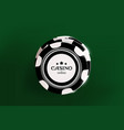 top view of casino black and white chips on green vector image vector image