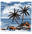 two lonely palms and grass vector image vector image