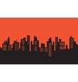 Urban silhouettes on orange backgrounds vector image vector image