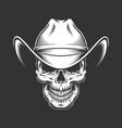vintage monochrome skull in cowboy hat vector image vector image