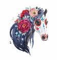 watercolor horse portrait vector image