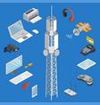 wireless technologies isometric 3d set vector image vector image