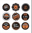 vintage labels black and orange set 2 vector image