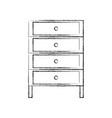 figure cabinet archive file document with drawer vector image