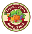 A round template with an organic farm and dairy vector image vector image