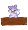 A wooden signboard with a friendly cat vector image vector image