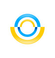 abstract radial half disc blue yellow symbol logo vector image vector image