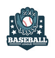 baseball league logo glove made leather and vector image