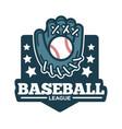 baseball league logo glove made of leather