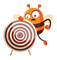 bee holding a target on white background vector image vector image