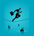 businessman running on rope with sharks underneath vector image vector image