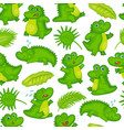 cartoon crocodile baand tropical leaves vector image vector image