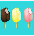 Chocolate lemon strawberry ice cream on stick vector image vector image