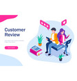 customer review the guy and girl leave a vector image vector image