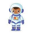 dark-skinned astronaut in a space suit on a white vector image