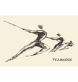 Drawn team teamwork partnership concept vector image vector image