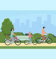 family riding bikes mother father and children vector image
