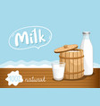 farmers market banner with dairy products vector image vector image